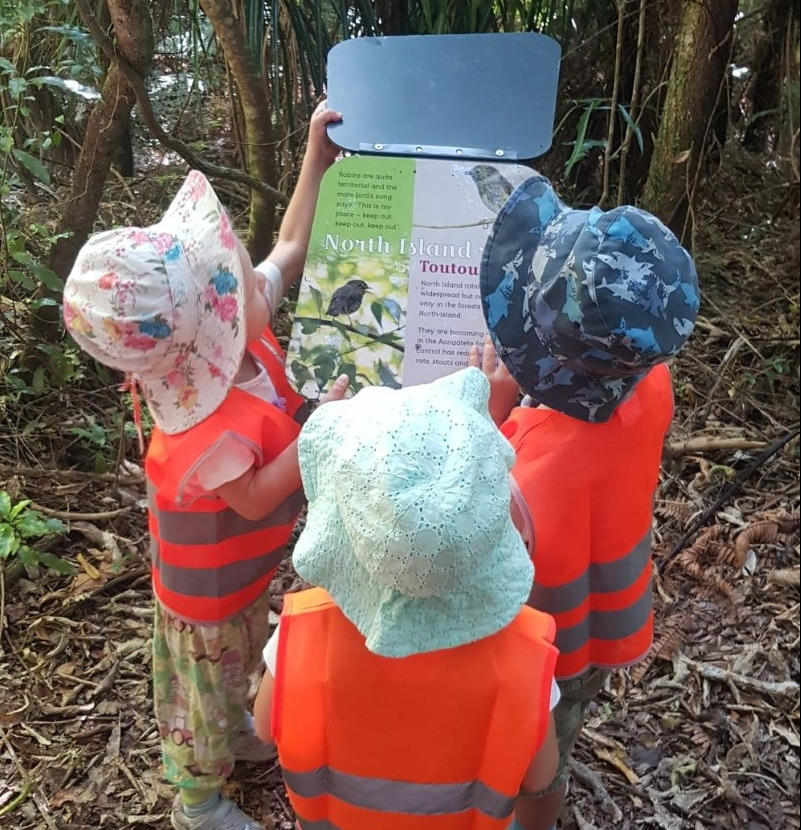 Three toddlers checking out the informative signs in the forest