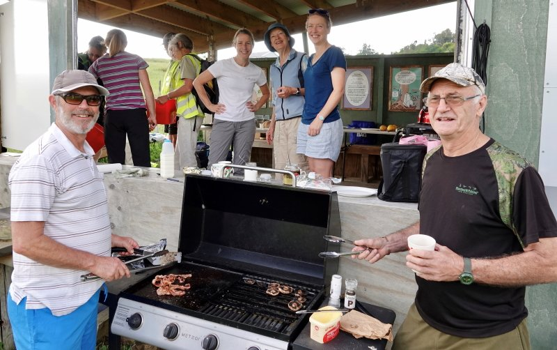 Barbecue breakfast being cooked at the kohanga to feed and celebrate out volunteers